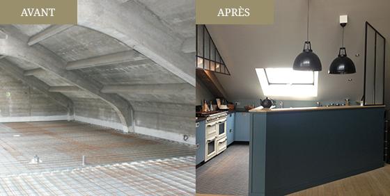 Avant après d'une cuisine, loft à Saint-Malo