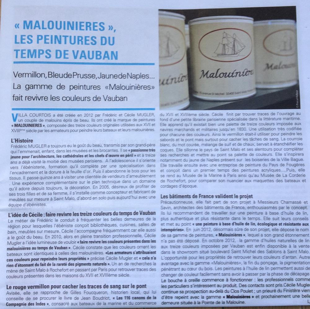Les peintures Malouinières dans le Journal des Remparts avril 2013