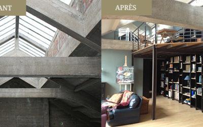 Réalisation d'une bibliothèque sur mesure dans un loft malouin